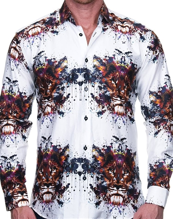Outstanding White Lion Print Dress Shirt