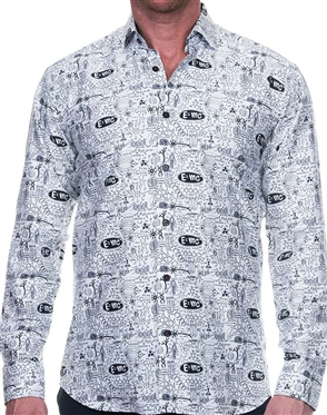 Fascinating White Black Print Dress Shirt