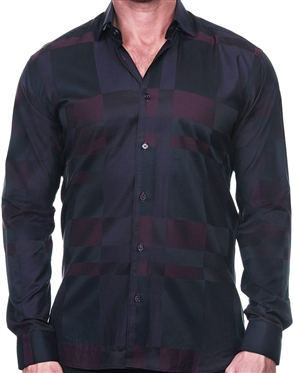 Black and Red Check Button Down
