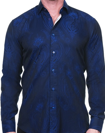 Royal Blue Paisley Jacquard Shirt