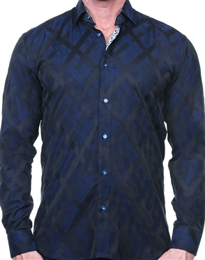 Dark Blue Diamond Check Dress Shirt