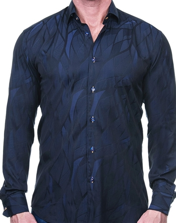 Blue Wave Jacquard Dress Shirt