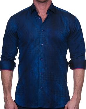 Abstract Blue Jacquard Dress Shirt