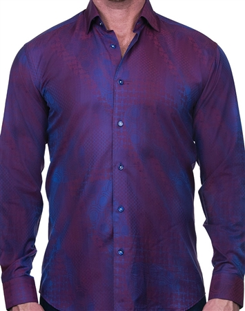Abstract Red Jacquard Dress Shirt
