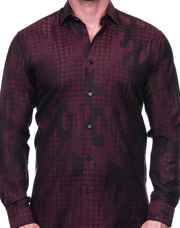 Red Houndstooth Camo Jacquard Dress Shirt