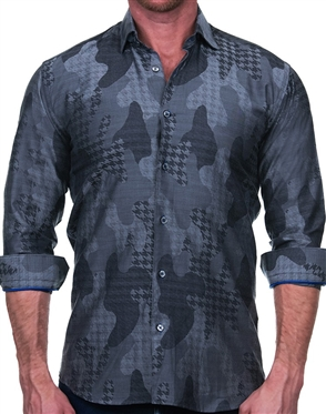 Gray Houndstooth Camo Jacquard Dress Shirt