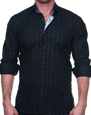 Dark Blue Check Dress Shirt