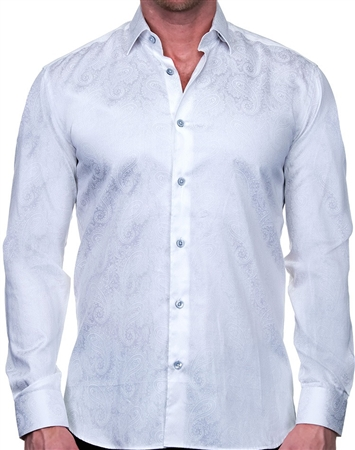 Elegant White Paisley Dress Shirt