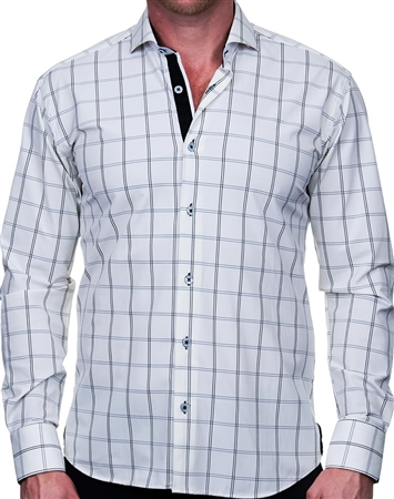 White and Black Check Dress Shirt
