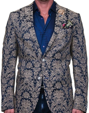 Eye-Catching Luxury Blazer - Blue and Gold Sport Coat
