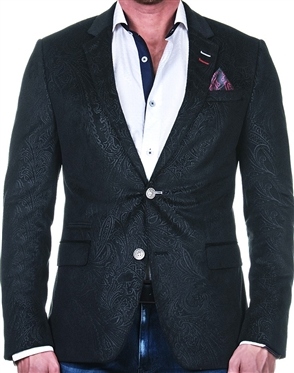 Fashionable Black Floral Paisley Blazer