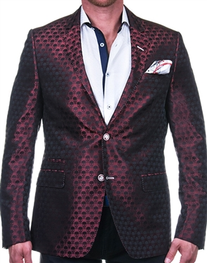 Sporty Red Skull Jacquard Blazer