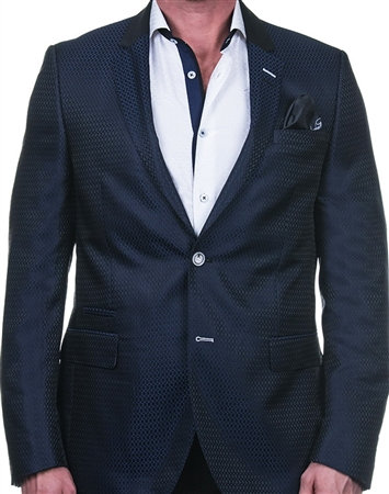 Elegant Blue-Black Weave Stripe Blazer