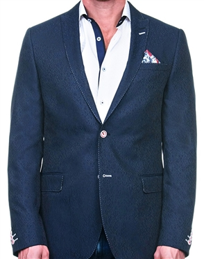 Luxury Geometric Blue Jacquard Blazer