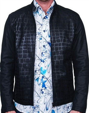 Navy Sueded Leather Jacket