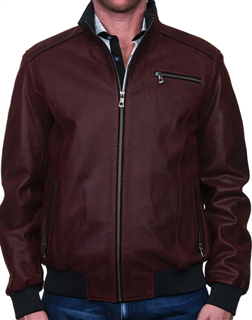 Sporty Red Leather Jacket