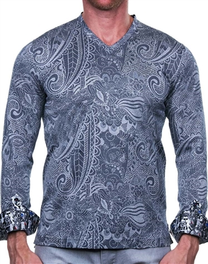 Gray Paisley V-Neck Shirt