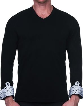 Slim Fit Black V-Neck