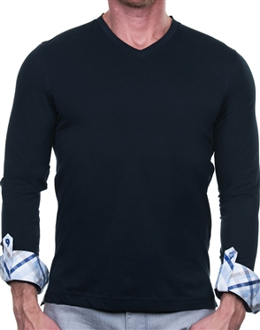 Navy Long Sleeve V- Neck