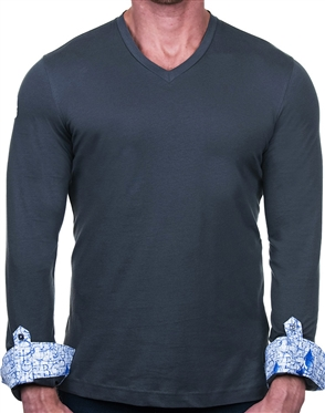 Sporty Mens Gray V-Neck Shirt