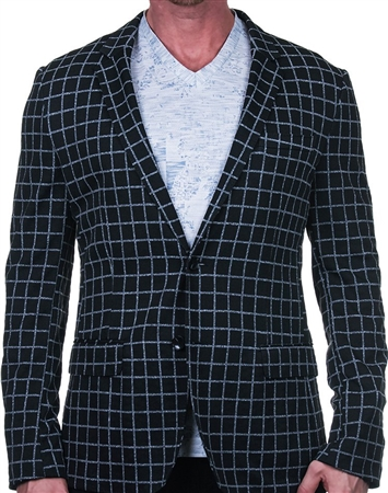 Black and Gray Check Blazer