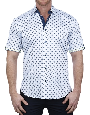 Designer Bee Blue Short Sleeve Dress Shirt