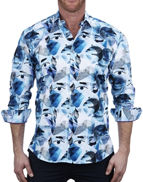 Ultra Posh Face Print Dress Shirt