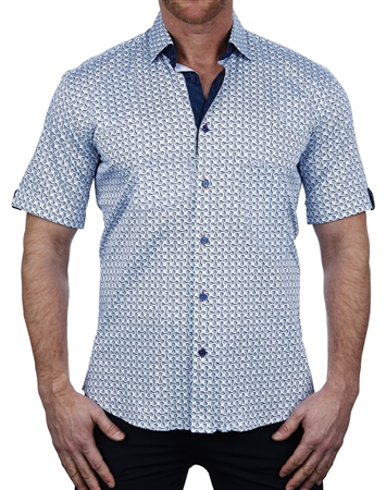 Flossy Blue Short Sleeve Dress Shirt