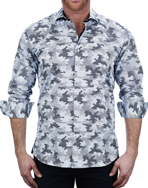 Hexagon splash blue Fashion Dress Shirt
