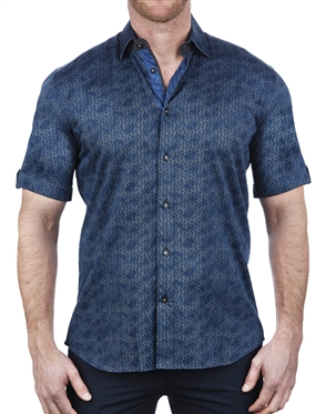 Handsome Blue Short Sleeve Dress Shirt