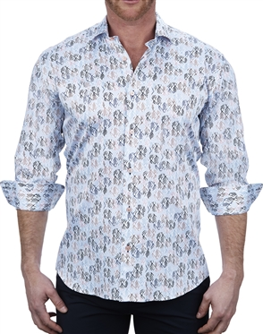 Confident Element Print white Dress Shirt