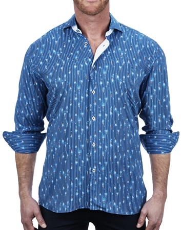 Swimming Pool Print blue Fashion Dress Shirt