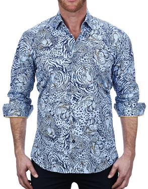 Elegant Blue Tiger Print Dress Shirt