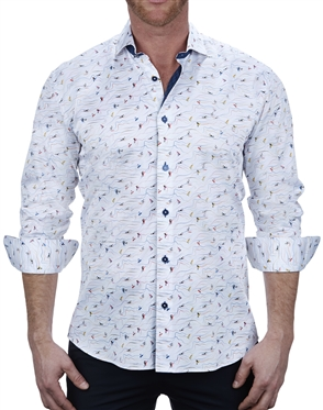 Fun Beach Print white Dress Shirt