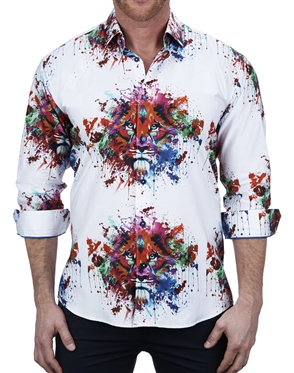 Vibrant Multi Color Splash Lion Face Print Dress Shirt