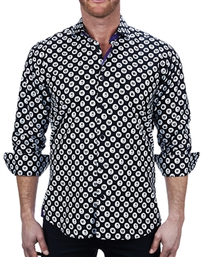 Modern Black Jacquard Dress Shirt