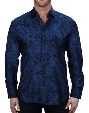 Designer Blue Lion Print Dress Shirt