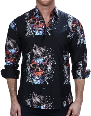Fashionable Skull Glass Print Dress Shirt