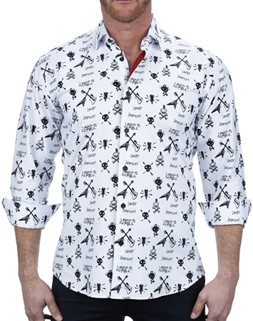 Trending Rock And Roll Print Dress Shirt