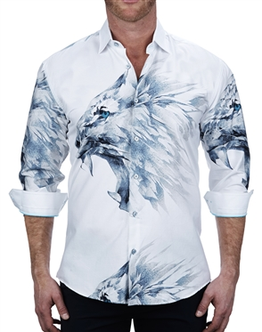 Attractive White Lion Print Dress Shirt