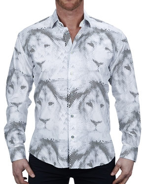 Elegant White Lion Print Dress Shirt