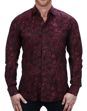 Flossy Red Paisley Print Dress Shirt