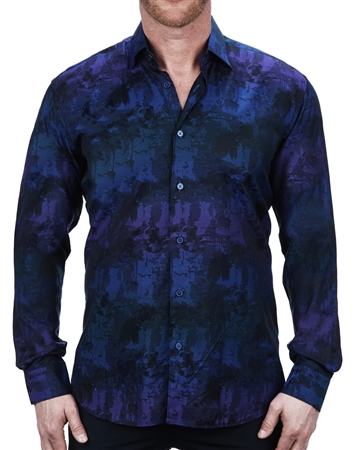 Fashionable Blue Jacquard Dress Shirt