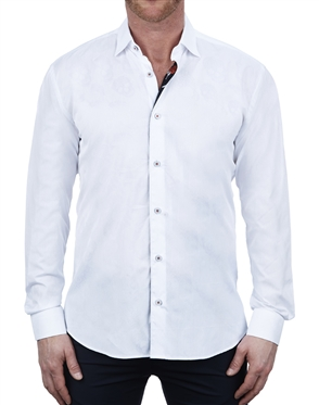 Elegant White Jacquard Dress Shirt