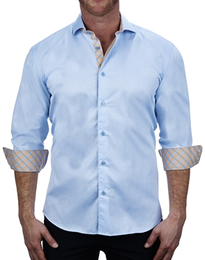 Luxury Blue Jacquard Dress Shirt