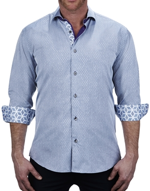 Handsome Blue Print Dress Shirt