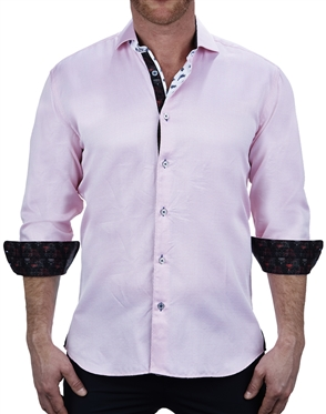 Designer Pink Jacquard Dress Shirt