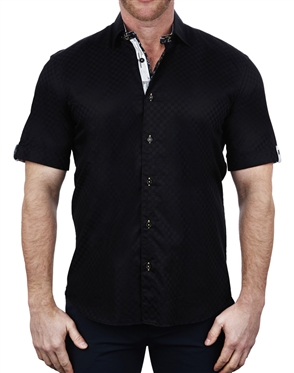 Sporty Black Check Print Short Sleeve Shirt