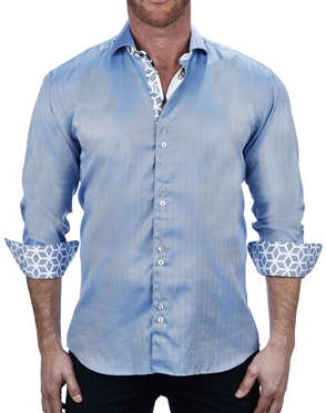 Modern Blue Jacquard Dress Shirt
