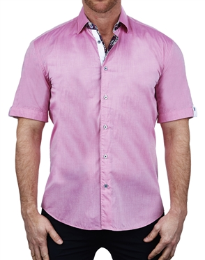 Luxury Pink Short Sleeve Dress Shirt